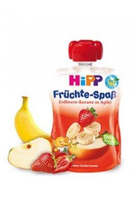HIPP Плодова закуска ябълка с ягоди и банан 4м+ 90 гр.